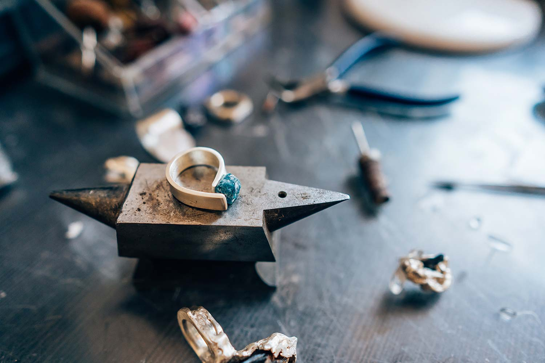 Custom made ring on workbench